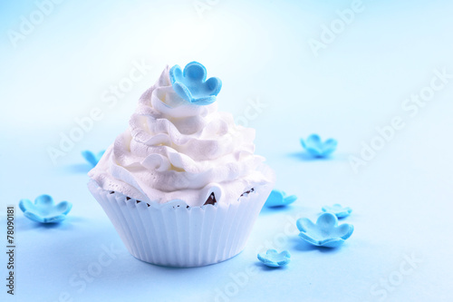 Delicious cupcake on blue  background