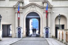 Sentinels On An Entrance And Prague Castle