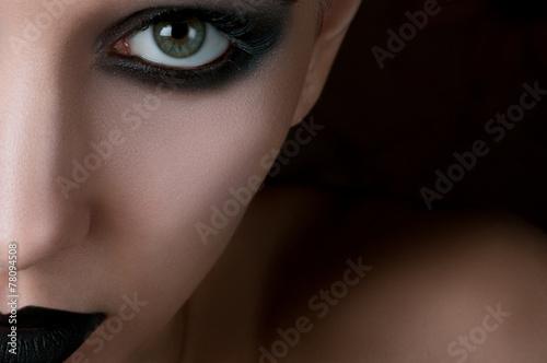 Foto auf AluDibond Aquarell Schädel eye Makeup