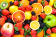 Fresh fruits mixed.Tasty fruits background.