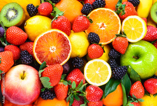 Fotografía  Fresh fruits mixed.Fruits background.