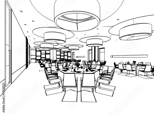 Photo sur Toile Drawn Street cafe outline sketch of a interior space