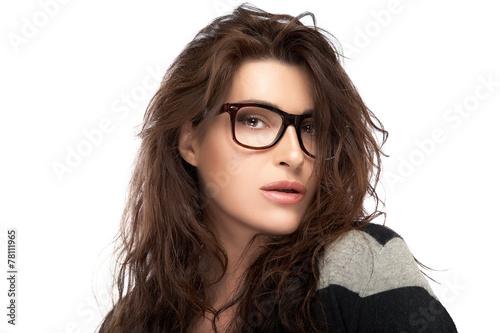 5f0942e4774 Beauty Fashion Woman With Trendy Glasses. Cool Trendy Eyewear - Buy ...