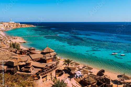 Photo Stands Egypt Red Sea coastline in Sharm El Sheikh, Egypt, Sinai