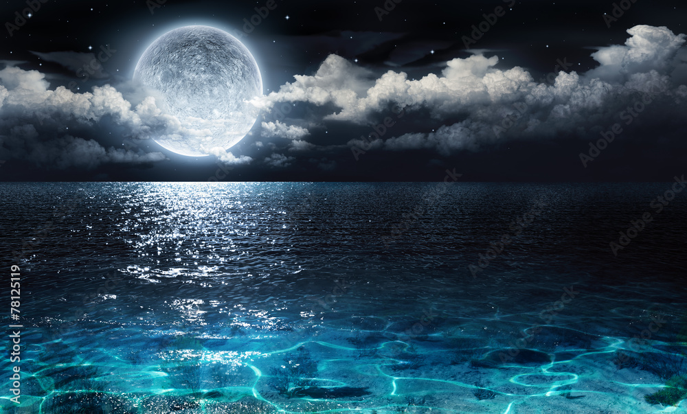 Fototapeta romantic and scenic panorama with full moon on sea to night