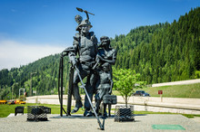 Sculpture Of Miners Family, Wallace, Idaho State, USA