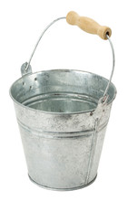 Iron Bucket Isolated On The White Background