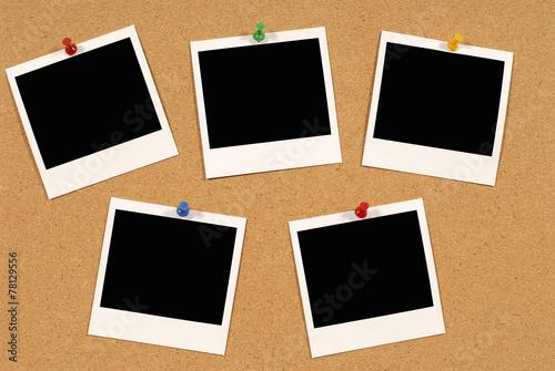 Fotografie, Obraz  Notice board with polaroids