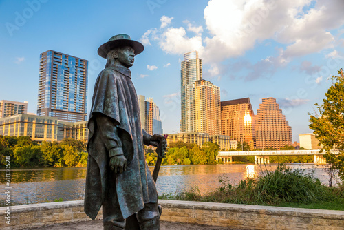 Aluminium Prints Texas Stevie Ray Vaughan statue in front of downtown Austin and the Co