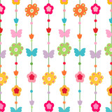 Happy spring floral pattern vector background