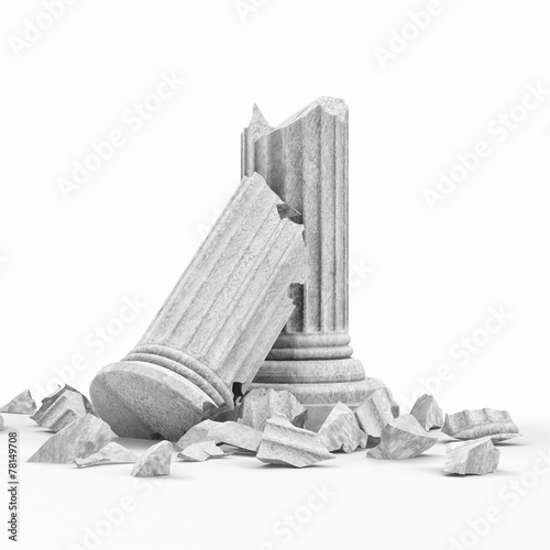 Broken Classic Ancient Column isolated on white background Fototapeta