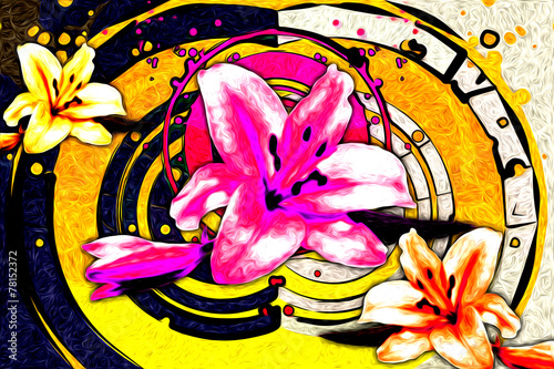 Staande foto Roze Abstract flower oil painting