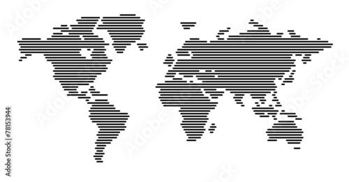 Acrylic Prints World Map World map horizontal black lines EPS 10