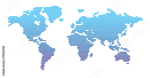 Recess Fitting World Map World map horizontal blue gradient lines EPS 10