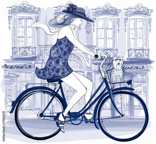 Tuinposter Art Studio Happy young bicyclist riding in a street