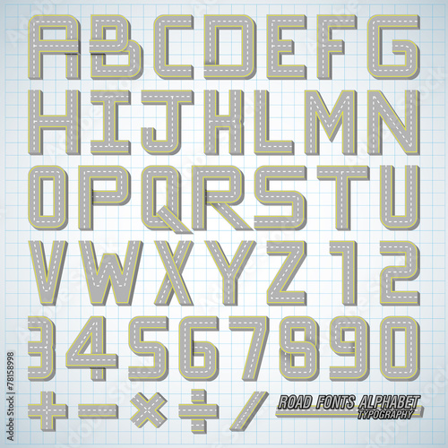 Plan alphabet design of Road fonts - Buy this stock vector