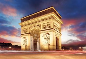 Fototapeta na wymiar Paris, Famous Arc de Triumph at evening , France
