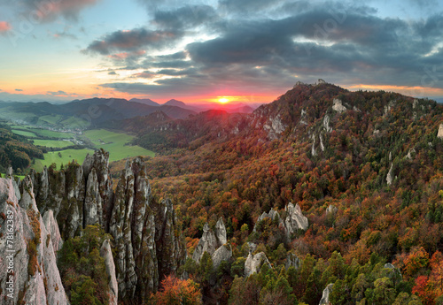 Slovakia mountain forest landscape at Autumn, Sulov