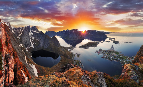 Poster Scandinavia Mountain coast landscape at sunset, Norway