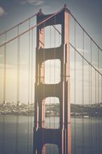San Francisco Golden Gate Bridge Retro Film Style