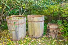 Three Old Barrels.