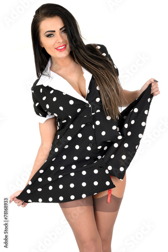 cbe094306 Attractive Young Pin Up Model Sexy Polka Dot Dress - Buy this stock ...