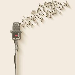 Panel Szklany Muzyka / instrumenty background with retro microphone