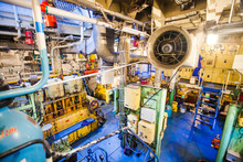 Engine Room On A Cargo Boat Sh...