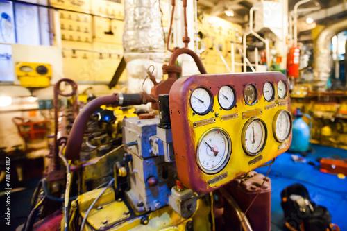 Obraz na płótnie Engine room on a cargo boat ship, engine room on an oil platform