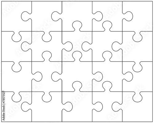 Fotografie, Obraz  Vector illustration of white puzzle
