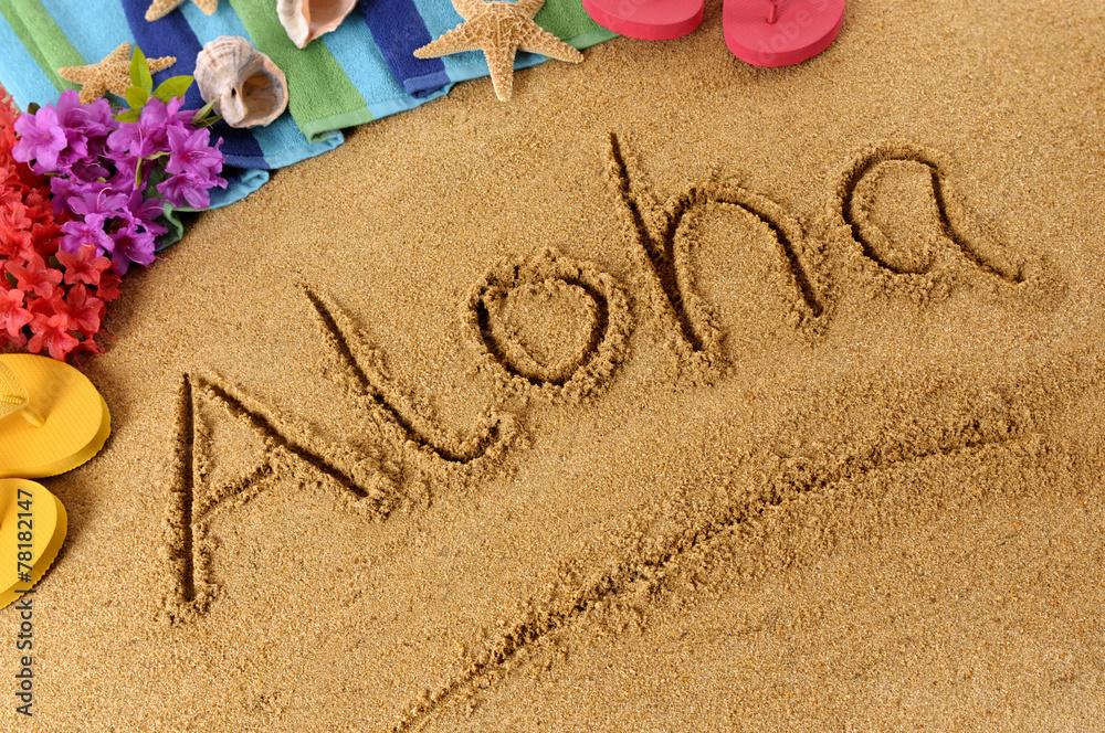 Fototapeta Aloha beach writing