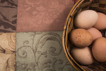 Chicken Eggs In A Basket With ...