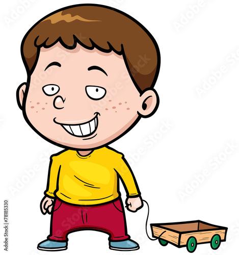 Deurstickers Babykamer Vector illustration of Cartoon boy with Wood trolley