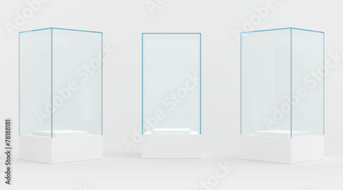 Fotografia display case. 3d render. isolated on gray background