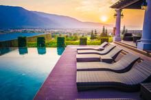 Pool, Mountain And Sunset / Su...