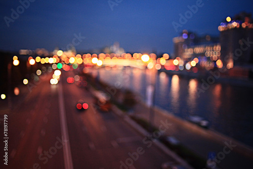 Photographie  abstract night background bokeh city