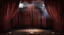Magic Theater Stage Red Curtai...