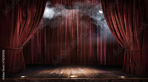 Fotomural  Magic theater stage red curtains Show Spotlight