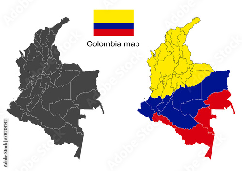 Colombia map vector, Colombia flag vector Canvas Print