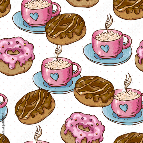 Cotton fabric Seamless background with cup of coffee and donuts