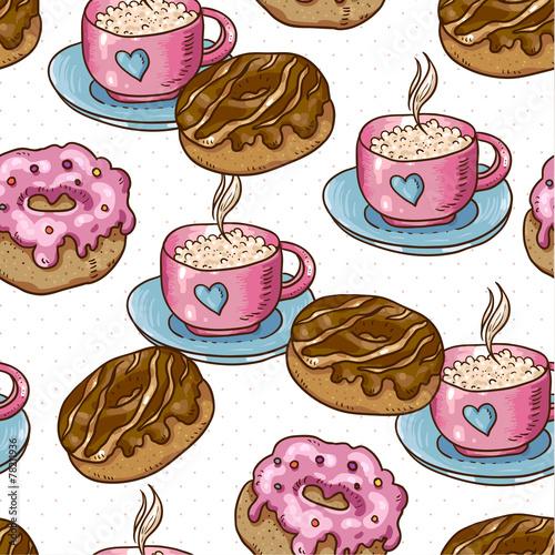 Materiał do szycia Bezszwowe tło filiżankę kawy i pączki