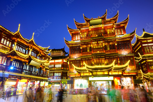 Yuyuan District of Shanghai, China at Night Canvas Print