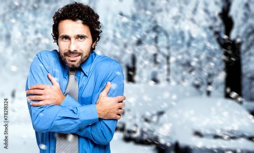 Fotografía Portrait of a frozen businessman in the cold winter