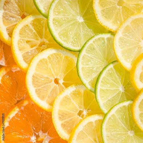 Spoed Foto op Canvas Plakjes fruit citrus mix