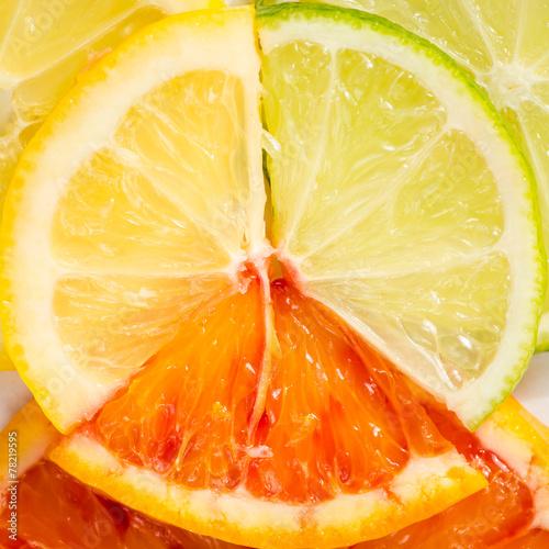 Fototapety, obrazy: lime, lemon and orange slice
