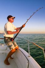 Angler Fisherman Fighting Big ...