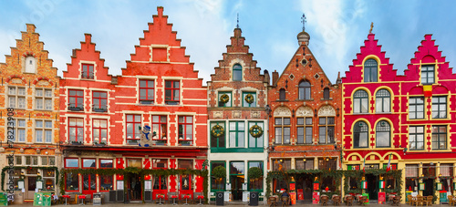 Printed kitchen splashbacks Bridges Christmas Grote Markt square of Brugge, Belgium.