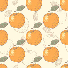 Panel Szklany Podświetlane Do gastronomi Orange stylized seamless pattern