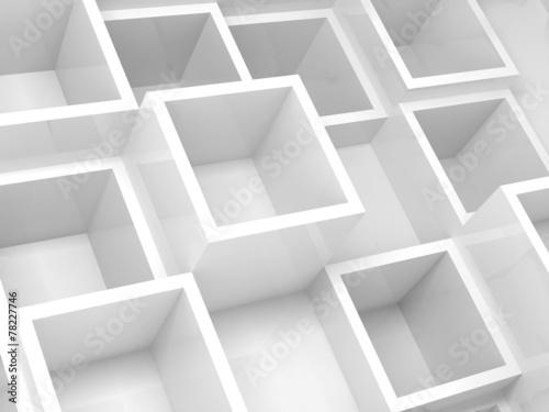3d wewnętrzny fragment z białymi kwadratowymi komórkami na ścianie