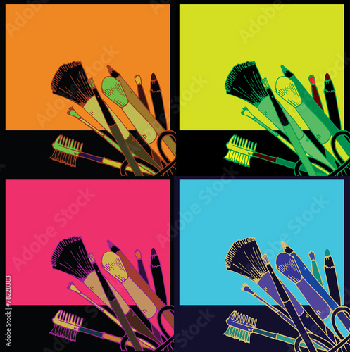 Photo  Makeup products  vector illustration pop art